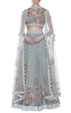 Abhishek Vermaa Lace & tulle hand embroidered lehenga set