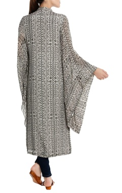 Bird's eye printed cape style kurta