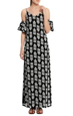 Masaba Cold-shoulder crocodile printed maxi dress