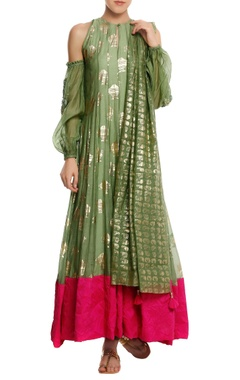 Masaba Chanderi silk 'fish' foil printed anarkali set