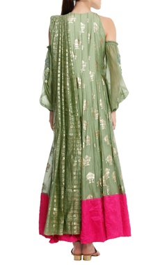 Chanderi silk 'fish' foil printed anarkali set