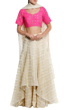 Masaba Chanderi high-low lehenga with blouse & dupatta
