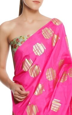 Silk tribal vase printed sari with blouse piece