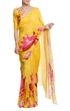 Masaba Chanderi lotus floral printed sari with blouse piece