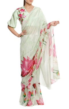 Masaba Chanderi lotus floral printed sari with blouse-piece