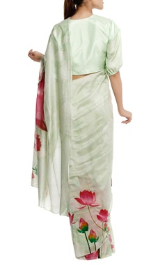 Chanderi lotus floral printed sari with blouse-piece