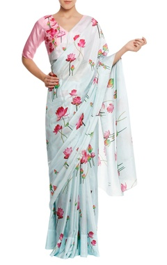 Masaba Lotus printed sari with v-neck blouse piece