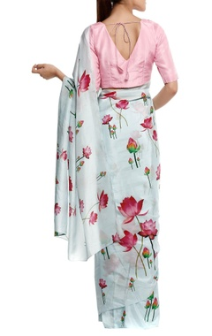 Lotus printed sari with v-neck blouse piece