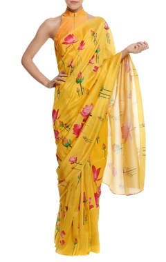 Masaba Silk floral printed sari with blouse piece