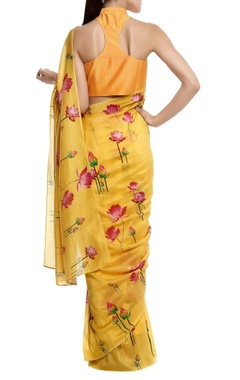 Silk floral printed sari with blouse piece