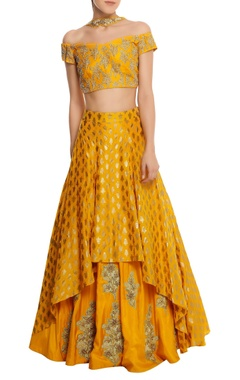 Masaba Pure crepe blouse with lehenga & net dupatta