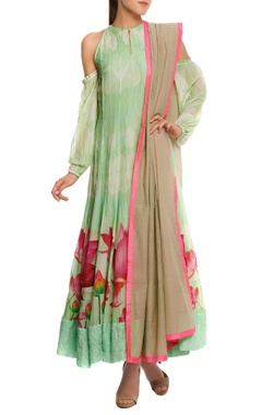 Masaba Chanderi cold-shoulder anarkali set