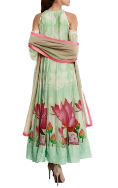Chanderi cold-shoulder anarkali set