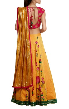 Floral printed lehenga with blouse & brocade dupatta