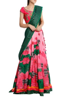 Masaba Lotus printed lehenga with blouse & brocade dupatta