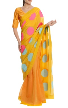 Masaba Chanderi polka dot printed sari with blouse piece