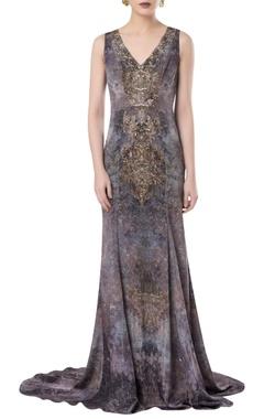 Embellished princess line gown