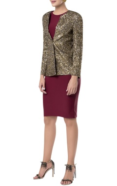 Gold sequin embroidered blazer jacket