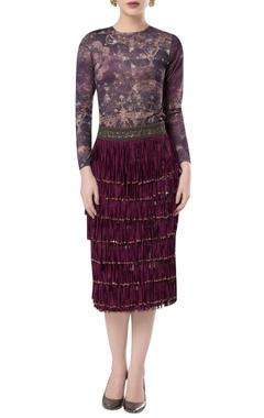 ROCKY STAR Tassel layered pencil fit skirt