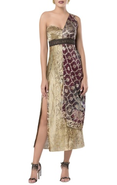 Printed midi dress with embroidery