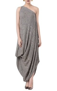 ROCKY STAR Cowl pleated embroidered dress