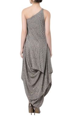 Cowl pleated embroidered dress