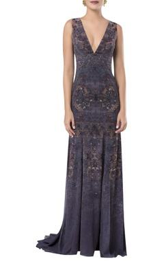 ROCKY STAR Printed floor length gown