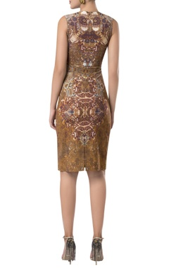 Printed fitted midi dress