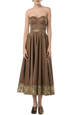 ROCKY STAR Embroidered pleated midi dress