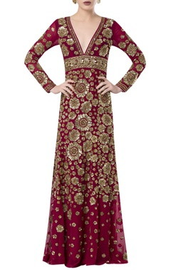 Hand embroidered floor length gown