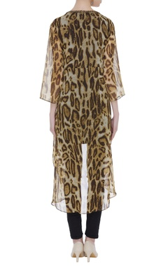 Animal print asymmetric tunic