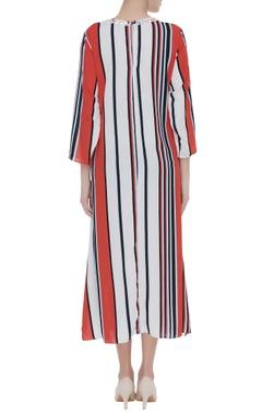 Stripe pattern maxi dress with embellished neck