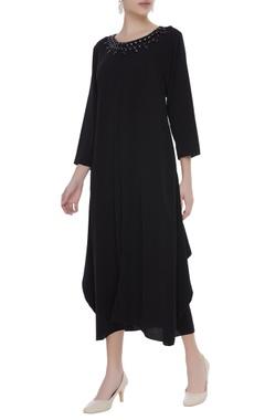 Crepe dress with stone embellished neckline