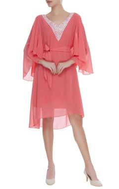 Georgette dress with embellished neckline