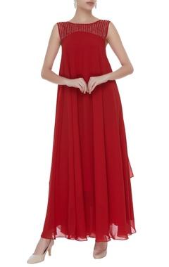 Sleeveless embellished gown