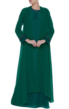 Georgette bias cut gown with long shrug