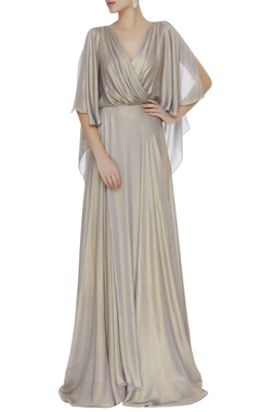 Foil printed overlap gown