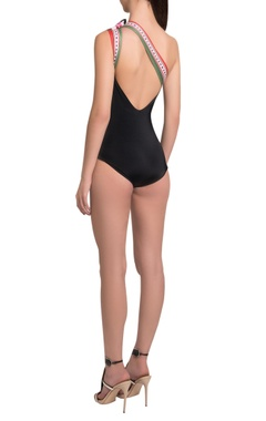 One-shoulder maillot with bow