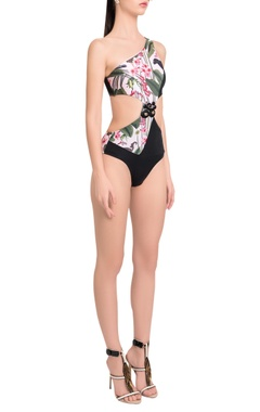 One-shoulder embellished trikini