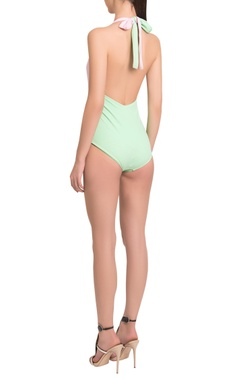 Color Blocked Halter Neck Drapped Maillot