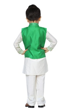Embroidered nehru jacket with kurta & churidar set