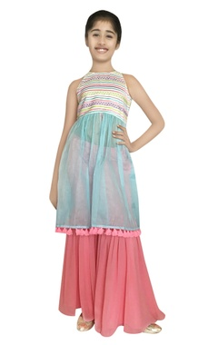 Chiquitita kids couture by Payal Bahl Thread embroidered kurta with sharara pants