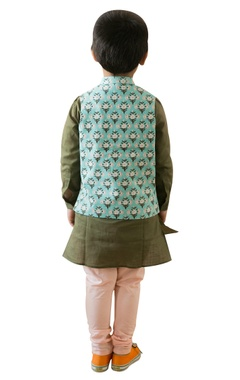 Persian printed nehru jacket with kurta & pyjamas