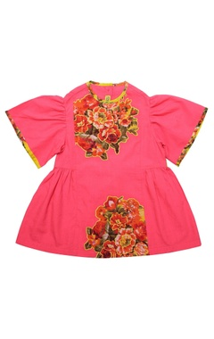 Cotton floral applique dress with flared sleeves
