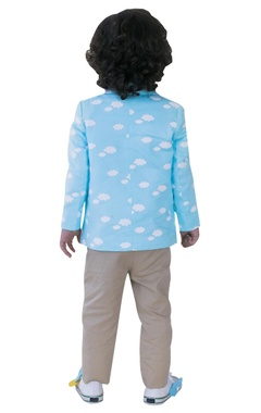 Cloud printed blazer with shirt & trousers