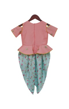 Peplum top with floral print dhoti style pants