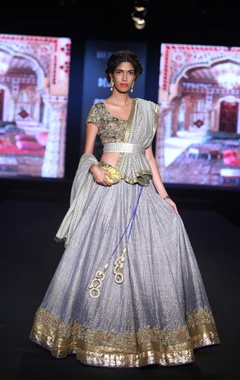 Embroidered lehenga with golden blouse and dupatta