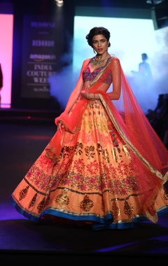 Embroidered lehenga with sleeveless blouse and dupatta