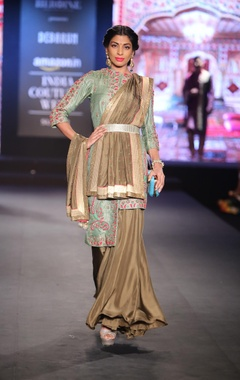 Embroidered kurta with flared palazzo pants and dupatta