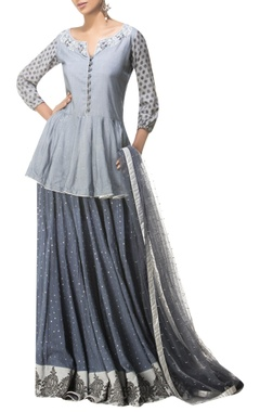 Peplum top with embroidered skirt and dupatta